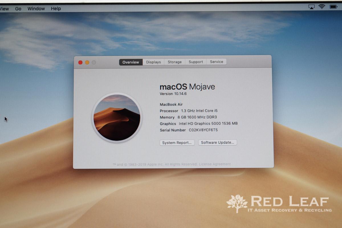 Apple MacBook Air A1466 (2013) i5 1 3Ghz 8GB Ram 128GB SSD (Refurbished)